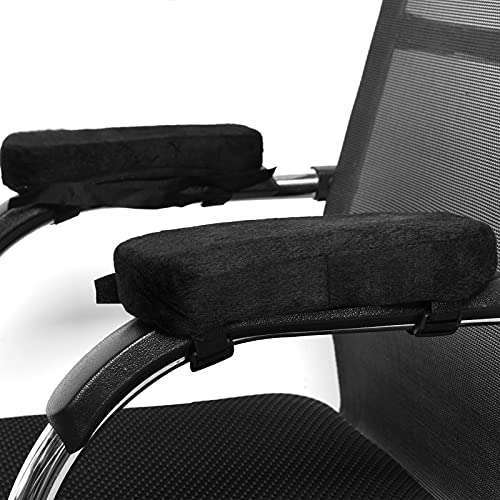 COYMOS Gaming Chair Arm Rest Pad with Memory Foam, Ergonomic Office Chair Arm Pads, Comfy Elbow Pillow Armrest Cushion for Computer Chairs, Desk Chairs, Wheelchairs (Set of 2, Universal Size)