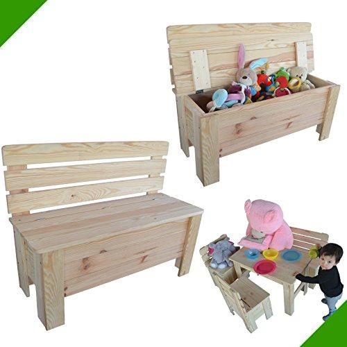 Banc en bois pour enfant - Banc de jardin en pin massif - Coffre multi-usages en bois non traité - Coffre à jouets