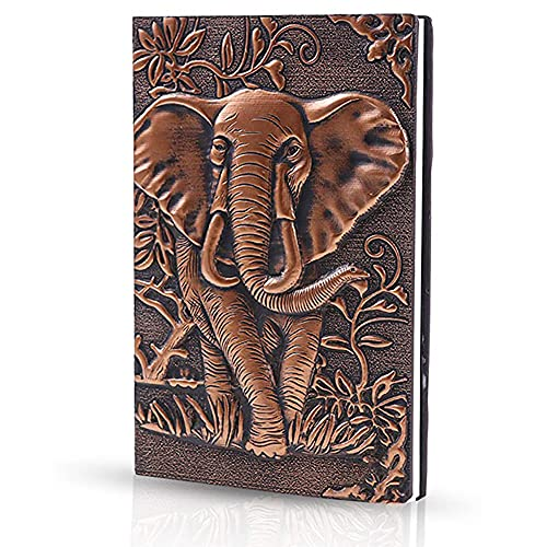 Cuaderno de cuero vintage A5,Cuaderno de viaje con relieve 3D,para Niñas Regalo de Cumpleaños CuadernoA5 Libretas Bonitas Tapa Dura, Cuadernos Cuero Vintage