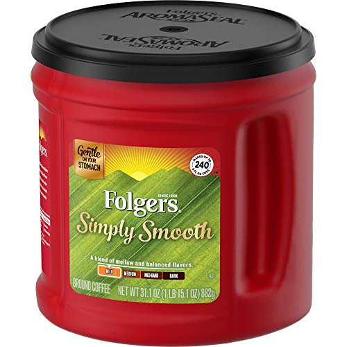 Folgers Simply Smooth Medium Roast Ground Coffee, 31.1 Ounces, Red, 1.94 Pound (Pack of 1) (20513)