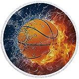 DXSX Baloncesto y Futbol Toalla de Playa Grande Redondo Microfibra Mantel de Flecos Adultos y niño Toalla de Yoga Colchoneta de Picnic Mantón (Estilo #4)
