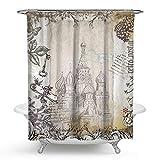KISY Cortina de ducha de tela vintage de París para decoración de baño, cortina de ducha pesada para bañera, 182,88 x 182,88 cm, Shabby Chic