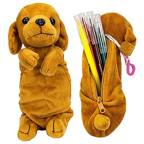 JPYH 3D Hund Form Bleistift Federbeutel, Niedliche Weiche Plüschtier Geschenke Für Kinder