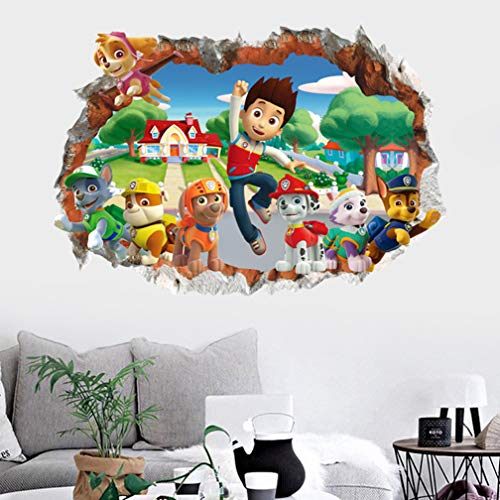 Paw Patrol Muurstickers 3D Decoratief Behang Muurschilderingen Decals 70x50cm