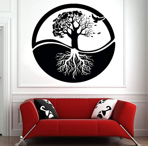 Árbol de la vida etiqueta de la pared arte árbol raíz pájaros puerta ventana vinilo pegatinas yoga meditación sala de estar guardería decoración del hogar 42x44 cm