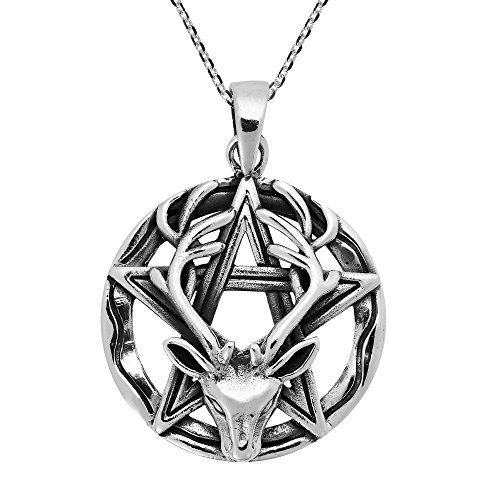 AeraVida Wiccan Stag Pentacle Celtic .925 Sterling Silver Pendant Necklace