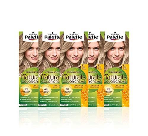 Schwarzkopf Palette Naturals Color Creme - Tono 8.1 cabello Rubio Claro Helado (Pack de 5) - Coloración Permanente – Perfecta cobertura de canas – Colores increíblemente naturales