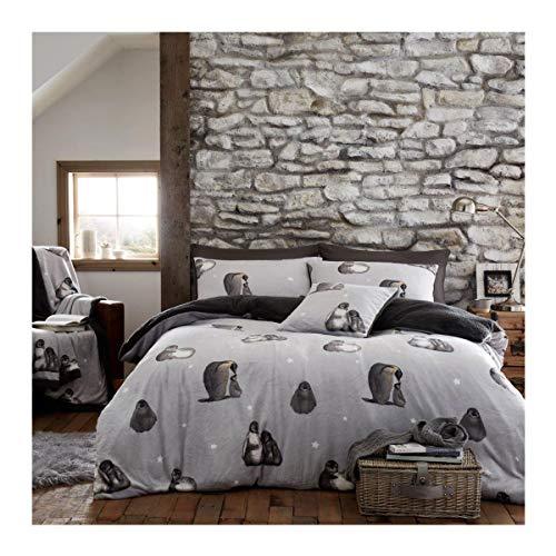 FAIRWAYUK Warm Bedding Set, Teddy Fleece Duvet Cover with Pillowcase, Penguin Cuddly Quilt, Super Soft, King Size