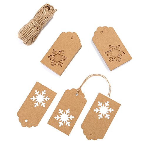 Whaline 100 Pack Christmas Paper Tags Kraft Gift Tags Snowflake Shape Hang Labels with 30 Meters Twine for DIY Arts and Crafts, Wedding Valentine's Day and Holiday (Brown)