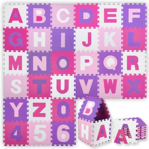 KIDIZ® 86 teilige Puzzlematte Kinderspielteppich Spielmatte Spielteppich Schaumstoffmatte Kinderteppich, Puzzle Zahlen und Buchstaben, Maß je Matte ca. 31,5 x 31,5 cm Schutzmatte Rosa