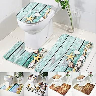 QKFON 3 alfombras de baño antideslizantes para pedestal y tapas, cubiertas para inodoro y contorno en forma de U que absorbe