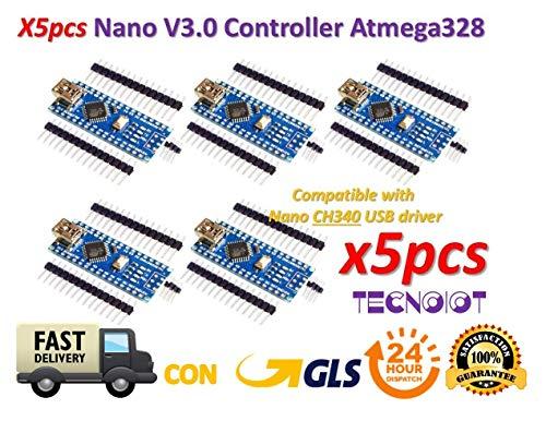 5pcs Arduino Nano V3.0 Controller Board Atmega328P Compatible Arduino Nano V3 CH340 | 5pcs Arduino Nano V3.0, scheda Nano CH340 / ATmega328P, compatibile con Arduino Nano V3.0