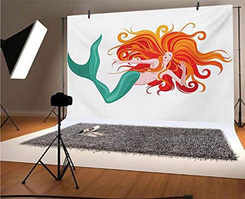 Sfondo fotografico subacqueo in vinile, 15 x 9 m, illustrazione di una sirena dai capelli rossi romantico immaginazione, sfondo per foto fondali da studio