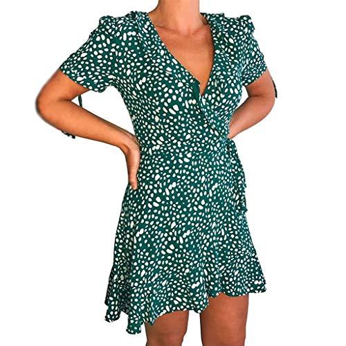 ReooLy Vestido Informal de Faja con Estampado de Flores geométricas de Manga Corta con Cuello en V para Mujer (D-Verde,XL)