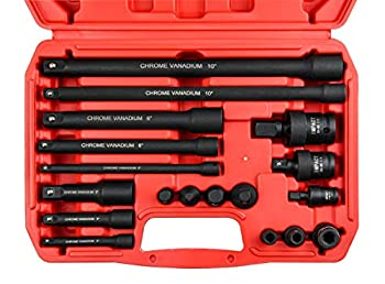 SEKETMAN 18-Piece Drive Tool Accessory Set,Includes Socket Adapters Extensions and Universal Joints and Impact Coupler Professional Socket Accessories