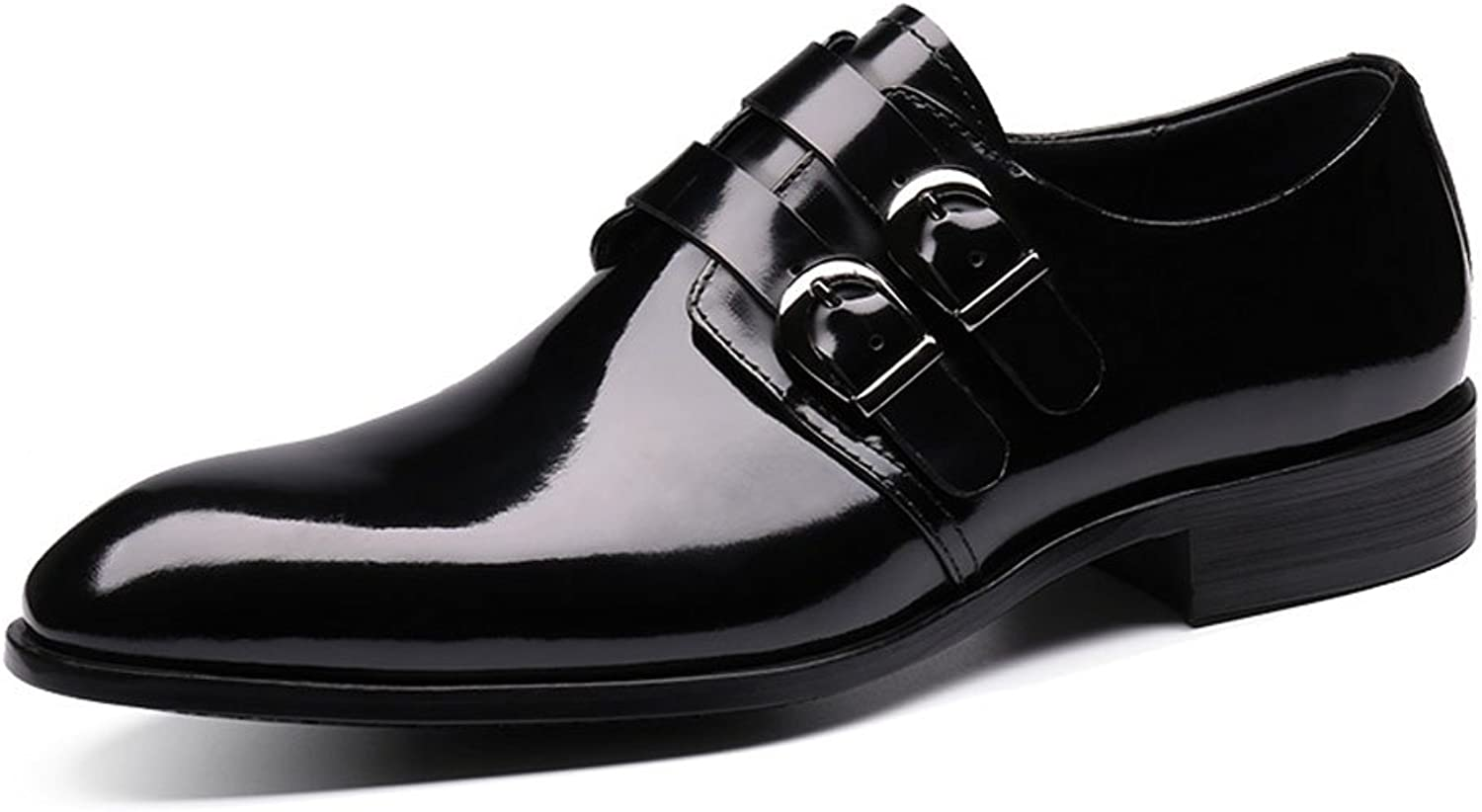 MedzRE Men's Double-Strap Monk shoes Formal Oxfords in Black Leather