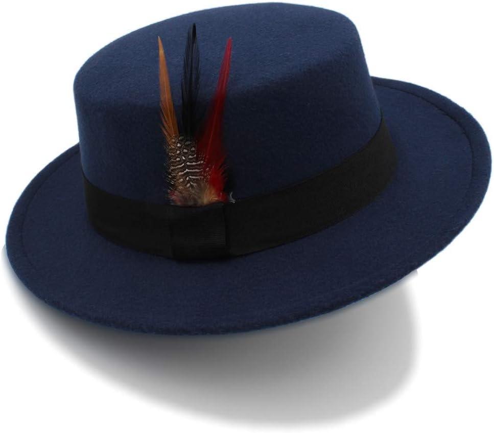 Winter Wool Pork Pie Boater Flat Top Hat for Women Men Felt Wide Brim Fedora Player Hat,Lightweight,Breathable (Color : Dark Blue, Size : 56-58cm)