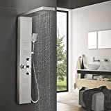 Image of BONADE Thermostatic Rain Shower Panel, Stainless Steel Tower Shower Column with 4X Hydromassage Handshower Kit and Tub Spout
