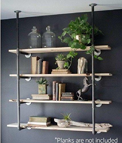 Estantería de hierro para pared, estilo retro industrial, Black Brush Silver, Customizable, 1