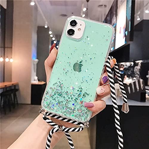 Anceky Cadena de teléfono móvil con purpurina compatible con iPhone 8 Plus/7 Plus, funda con cordón, funda para el cuello, funda protectora transparente de silicona para iPhone 8 Plus/7 Plus
