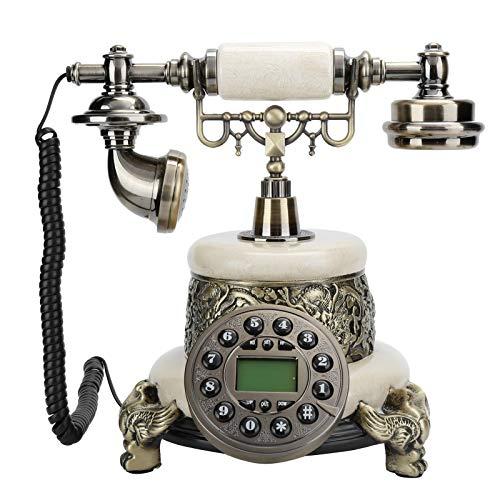 Vbestlife Teléfono Antiguo, teléfono Fijo Europeo de Estilo Retro MS-2200D con Pantalla de identificación de Llamadas FSK y DTMF