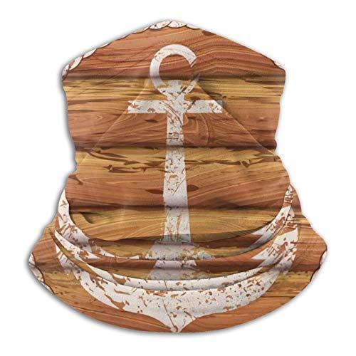 YBEAYQYXR Emblema marino ancla en tablones de madera unisex de microfibra calentador de cuello protector solar resistente al viento pasamontañas diadema bufanda para exteriores