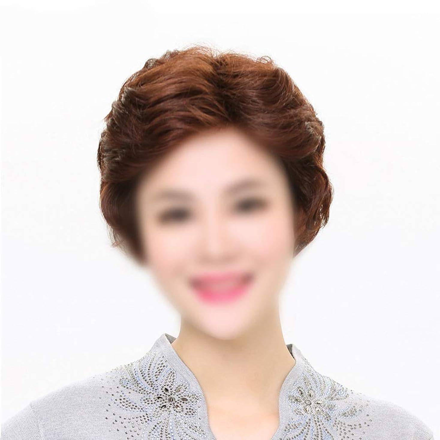 スモッグステープル品Yrattary 手織りのナチュラルブラック本物の髪のための短いウェーブのかかったヘアエクステンション合成髪のレースのかつらロールプレイングウィッグロングとショートの女性自然 (色 : Dark brown, サイズ : Mechanism)