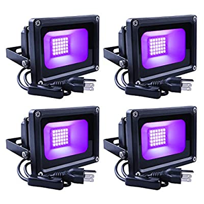 SHPODA 4 Pack 15W LED Black Lights LED Flood Light,with Plug and Switch(5ft Cable),IP66 Waterproof,for Blacklight Party,Halloween,Body Paint,Fluorescent Poster,Birthday Wedding Party