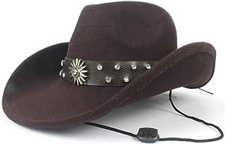Hat Size 56-58CM 100% Wool Men Women Western Cowboy Hat With Punk Belt Adult Church Hat Outdoor Casual Hat Fascinator Fashion Hat