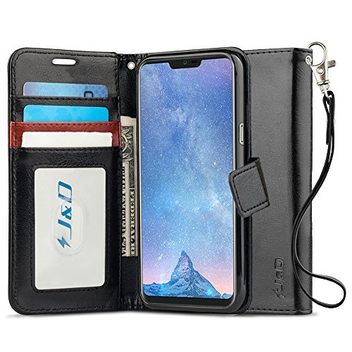 JundD Kompatibel für LG G7 Hülle, LG G7 ThinQ Leder Hülle, [RFID Blocking Standfuß] [Slim Fit] Robust Stoßfest PU Leder Flip Handyhülle Tasche Hülle für LG G7, LG G7 ThinQ Hülle - [Nicht für LG G6]