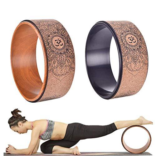 HTYG Ruota Yoga in Sughero Naturale-per Migliorare la curvatura della Schiena-per Pilates e Yoga-Esercizi Dharma Anello da Yoga Sughero per Pone Flessibilità Crescente (Marrone)