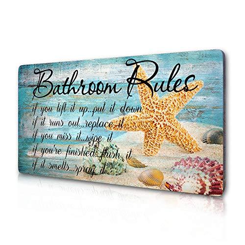 SAC SMARTEN ARTS Beach Bathroom Decor Seashells Bathroom Rules Sign Farmhouse Starfish Beach Themed Toilet Decorations - If It Smells Spray It - Beach Sign Plaque 16 Inches by 8 Inches