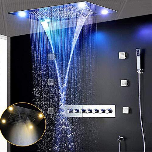 shengshiyujia Luxus Vollständigste Dusche Armaturen Set 6 Funktionen Dusche System Einbau Regen Dusche Panel Wasserfall Körper Jets Massage