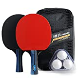Training Table Tennis/Ping Pong Set - 2 Premium Paddles/Rackets/Bats, 3 Balls and 1