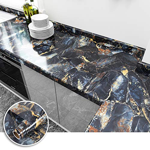 VEELIKE Navy Blue Marble Contact Paper 15.7'×118' Self-Adhesive Glossy Granite Wallpaper Peel and Stick Removable for Cabinets Countertops Kitchen Decorative Waterproof for Furniture Home Bedroom