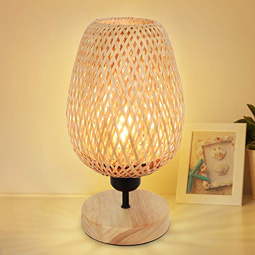 PADMA LED Bedside Table Lamp with Solid Wood, Creative Table Lamp with Bamboo Lampshade, Minimalist Nightstand Desk Lamp for Bedroom Living Room, Dorm, Handmade Rattan ( E27 Bulb Included)