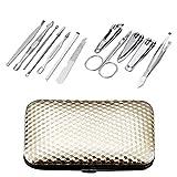 Abcidubxc - Kit de manicura para pedicura, manicura, set de corte de uñas profesional, corte cutículas, acero inoxidable, con caja de almacenamiento