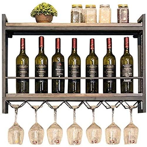 FBBSZSD Estante de Pared de Madera Retro Soporte de Hierro de Metal Estantes de Almacenamiento para Vino Botellas de Vino Colgantes y Soporte para Vasos Marco para Copas de Vino Estante pa