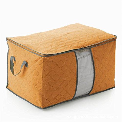 F-Fook Pieghevole in Fibra di Bambù del Carbone di Legna Storage Sacco Quilt Abbigliamento Coperta Closet Home Organizzatore Scatola di Finestra Trasparente Della Cassa 60 * 42 * 35 Centimetri (Arancione)