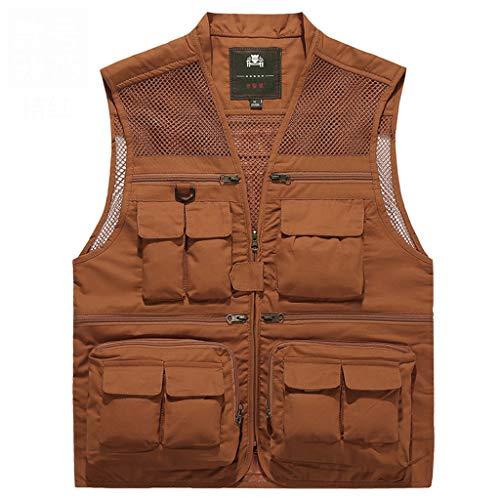 JSY Vest for mannen vrijwilliger werkkleding multi-pocket werkkleding lente en de herfst schoudermantel vest dunne stijl Bodywarmers (Color : B, Size : L)