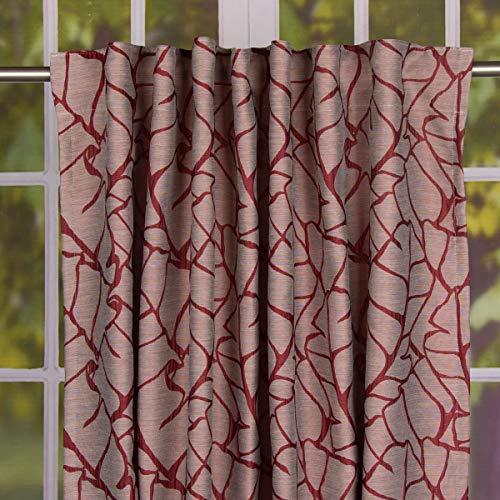 Mooi leven. Sjaal kant-en-klaar gordijn met lusband Jacquard bladerpatroon Bordeaux rood 145x245cm