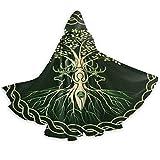 Ritual celta nórdico nórdico vikingo diosa Wicca Wicca Halloween mago bruja manto con capucha capa Navidad sudaderas con capucha capa Cosplay para adultos favores de fiesta suministros 150x40cm