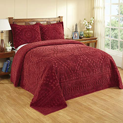 Better Trends Rio Collection is super soft and light weight in Floral Design 100 Percent Cotton Tufted Unique Luxurious Machine Washable Tumble Dry, King Bedspread, Burgundy