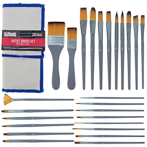 U.S. Art Supply 24-Piece Artist Paint Brush Set - Professional All-Purpose Taklon Synthetic Brushes, Filbert, Round, Flat Bristles - Painting Portraits, Canvas, Paper, Wood - Watercolor, Acrylic, Oil