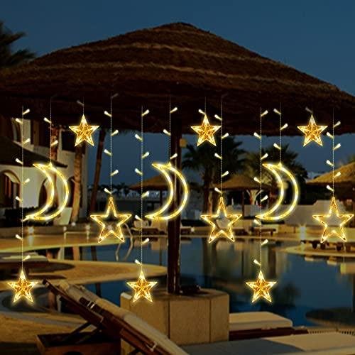 LED Lichterkette 3.5m*1.1m, Sterne Moon Fenster Lichterketten Vorhang, 8 Modi Lichterkette für Zimmer Hausgarten Weihnachten Hochzeit Schlafzimmer Fenster Vorhang Dekoration (Warmweiß)
