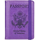 GDTK RFID Blocking Leather Passport Holder Cover Case Travel Wallet Elastic Strap (Purple)