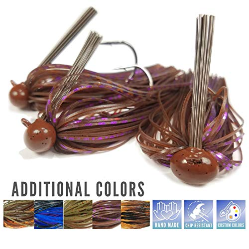 Price comparison product image Rock Crawler Tungsten Football Jigs For Bass Fishing - Perfect Weedless Jig Head Fishing Lure Set - Fishing Lure Kit for Bass,  Pike,  Striped Bass - 1 / 2 3 / 4 1 ounce (Peanut Butter & Jelly Craw,  1 / 2 oz)