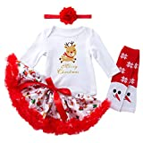 Cuteelf Kinder Langarm-Weihnachtshandschuhe gedruckt Strampler Bluse Jacke + gedruckt Flauschigen Tutu Rock + Haarband + Socken vierteiligen Anzug Weihnachtskleid Tutu Rock mit