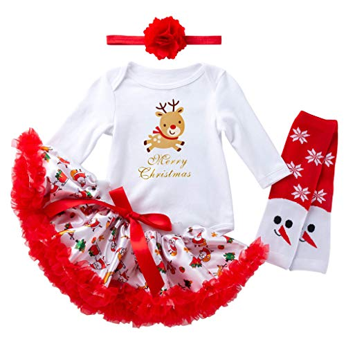 Hirolan Mädchen Weihnachtskostüm 4 Stück Outfits Strampler + Tutu Kleid + Stirnband + Socken Schmetterlingsflügel Fee Prinzessin Kostüm für Mädchen Party Kostüm
