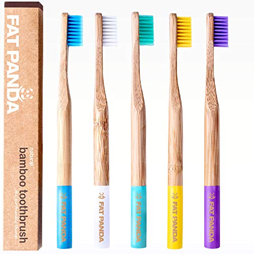 Bambus Zahnbürsten | Umweltfreundlich und biologisch abbaubaren Kunststoff frei Holzgriff | BPA-freie Mittel Borsten | Zahnbürste in schönen Farben | 5 er Pack | Vegan | Perfekte eco Geschenke